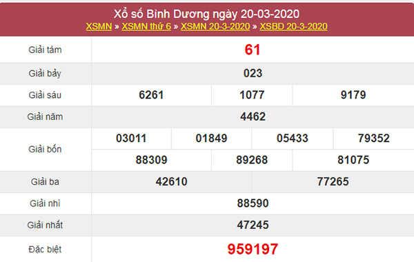 Soi cầu XSBD 27/3/2020 - KQXS Bình Dương thứ 6