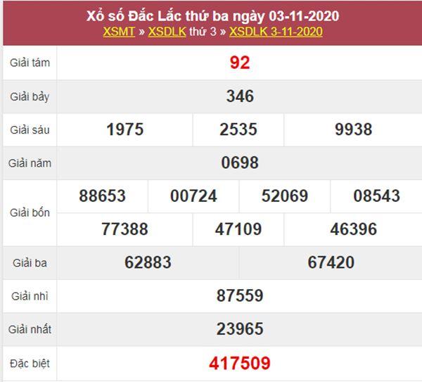 Thống kê XSDLK 10/11/2020 chốt đầu đuôi giải đặc biệt thứ 3